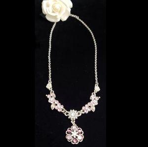 Lavender Chrystal Necklace Floral